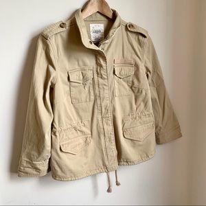 🆕 IZOD Khaki Semi-Fitted  Zip Up Utility Jacket